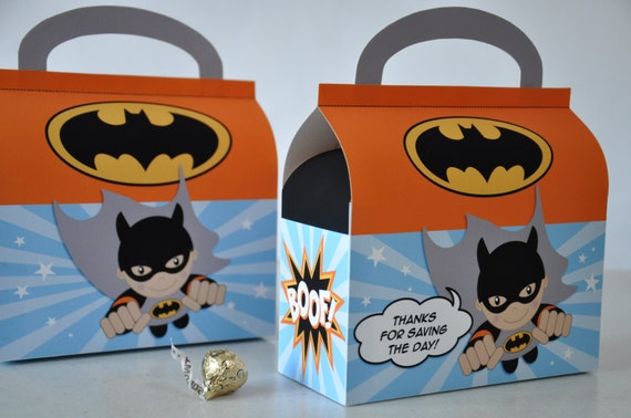 Flying Super Hero Batman favor box for birthday party - digital PDF ...