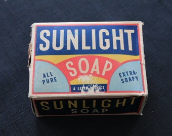 Vintage Sunlight Soap Box with Soap Laundry Advertising