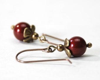Small Burgundy Earrings - Bordeaux Swarovski Crystal Pearl Earrings on Antique Brass - Dark Red Earrings