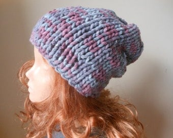 Hand Knit Slouchy Beanie Hat Acrylic Grey and Purple