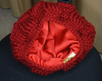 Satin Lined Chunky Basket Weave Beanie for Natural Curly or Relaxed Hair