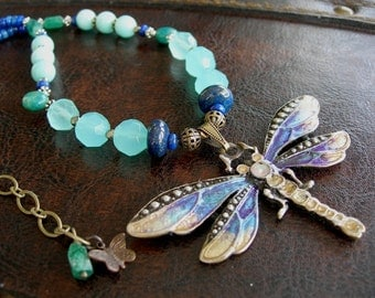 Upper Chakra Healing Multi Gemstone Dragonfly Animal Totem, Blue Lapis Chalcedony Amazonite Peruvian Opal Green Aventurine Pyrite Necklace