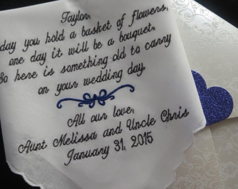 Flower Girl!! Embroidered Wedding Handkerchief for the Future Bride in your wedding. FREE GIFT ENVELOPE with each purchase! Party favor.