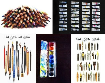 Set of 5 Craft Supply Postcards - gouache paint, watercolor paints, colored pencils, calligraphy ink pens, nibs