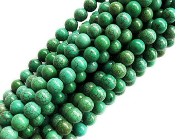 7mm Green Turquoise Round Beads; 1 strand