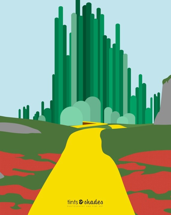 Emerald city minimalist poster by tintsshadesfineart on etsy for Emerald city nickname