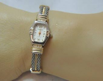 Sergio Valente Vintage Rhinestone Wrist Watch with Cuff bracelet band