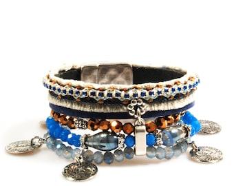 Blue bracelet with coins, jeans, leather bracelet with beads and Swarovski, wide bracelet gypsy style, handmade jewelry bohemian, woman gift