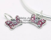 New 100% 925 Sterling Silver Minnie's Sparkling Bow Charm with Red & Clear CZs Charm Beads Fit European Style Jewelry Bracelets DS036