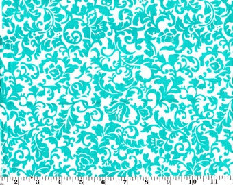 20 Inches, Teal Flowers on White Cotton
