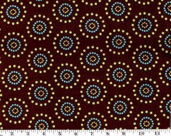 1 Yard, Circle Dots on Brown