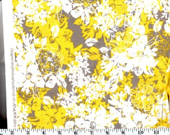 1 Yard 31 in, Yellow and Gray Layered Floral Cotton