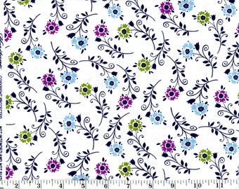 1 Yard 19 in, Tossed Flowers on White Cotton