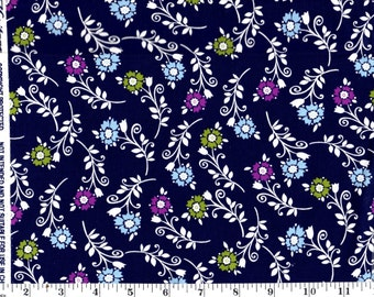 1 Yard 19 in, Tossed Flowers on Purple Cotton