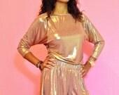 Metallic Copper Gold Glam Celebrity Flutter Shorts Size M