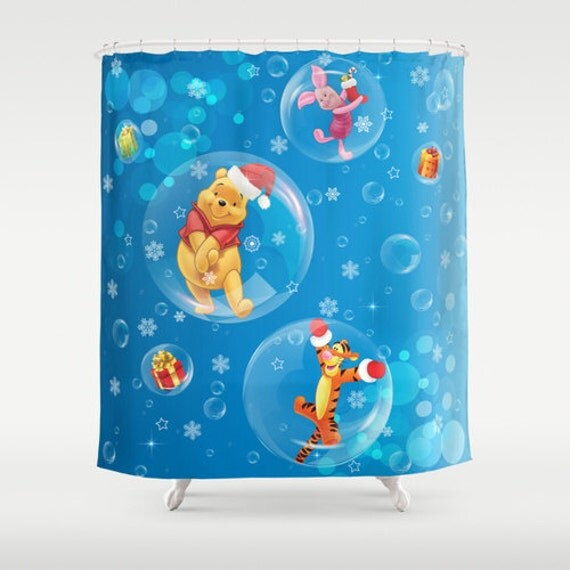 Shower Curtain Winnie The Pooh Blue Art Curtain Home Decor