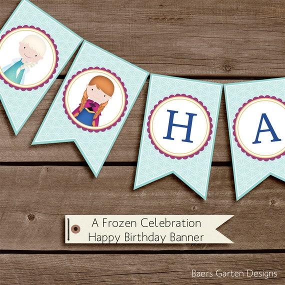 Frozen Birthday Banner Printable Frozen Banner Party By: A Frozen Celebration Happy Birthday Banner Printable Birthday