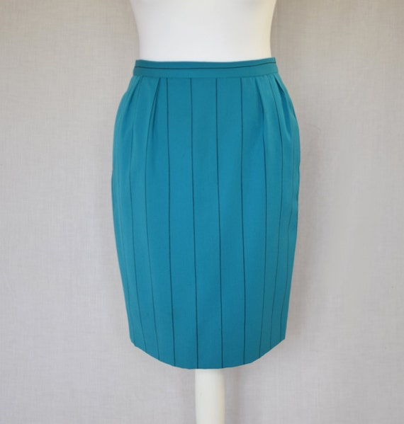 pencil skirt vintage bright turquoise by oneoffboutique