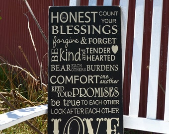 Inspirational family quote painted wood sign sign
