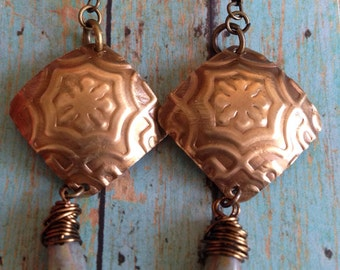 brass and Czech glass handmade earrings