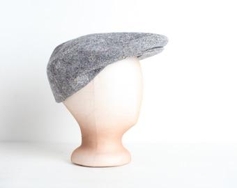 Vintage Men's Hat, Newsboy, Grey Tweed Cap