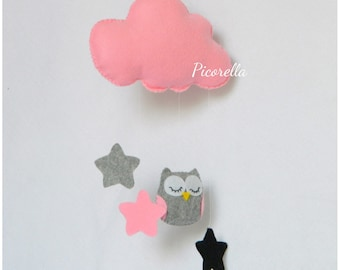 Baby Crib mobile / Owl Baby Mobile / Baby Mobile Owl / Felted Owl Nursery / Cloud Mobile Pink and Gray / Hanging Baby Decor
