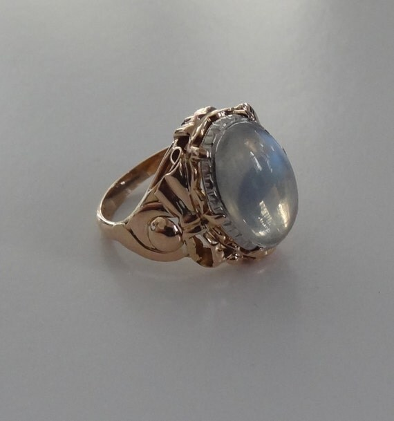 18k yellow and white gold moonstone ring by lejeweler on etsy