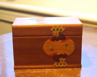 Midcentury decoupage card box