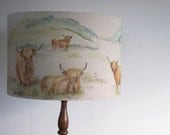 Highland Cow lampshade proudly hand made in Great Britian
