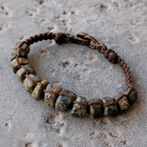 Reserved for Andrew: Ancient Granite Bead Macrame Bracelet Rustic Gray Black and Brown