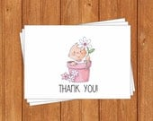 Girl Flowerpot Thank You Cards-BSI103TY Printable PDF Instant Download