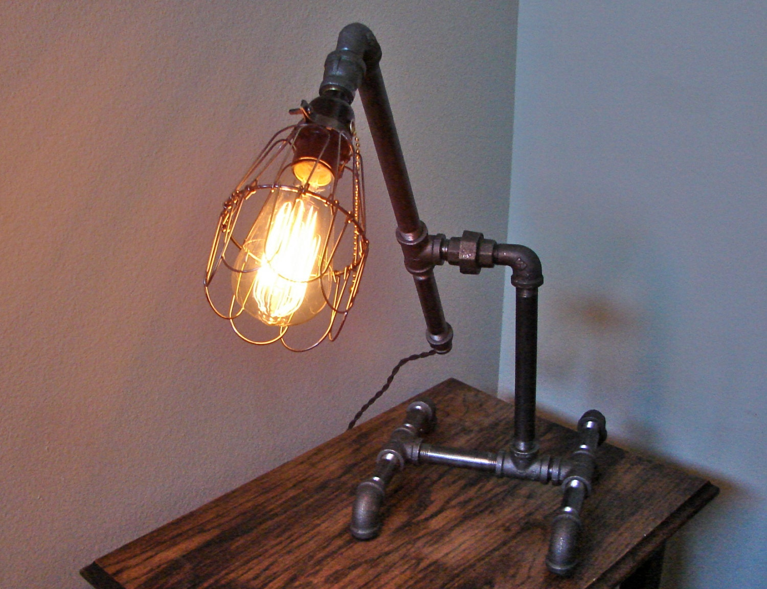 edison bulb swing arm industrial pipe cage lamp industrial. Black Bedroom Furniture Sets. Home Design Ideas