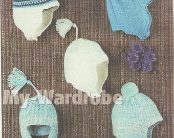 knitting pattern for baby boy vintage style hats birth to 12 instant download . dk yarn