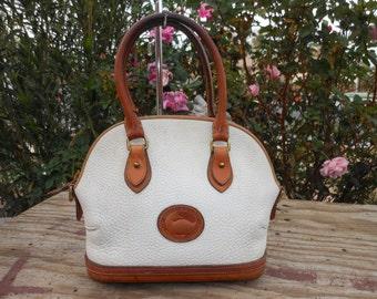 Authentic Vintage DOONEY & BOURKE Off-White Pebbled Leather Satchel Handbag