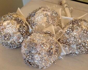 Rhinestone Bridesmaids Bouquets | Floral Bridesmaid Bouquet | Keepsake Bouquet