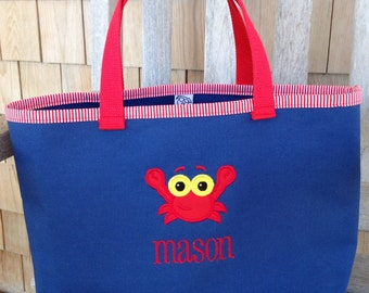Kids Personalized Navy Blue Canvas Tote with Red Crab Design