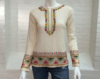 vintage Indian tunic top // ethnic gauze cotton embroidered top // extra small // 1970s