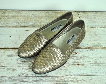 Trotters Metallic Gold Shoes, Trotters Metallic Flats, Trotters Loafers