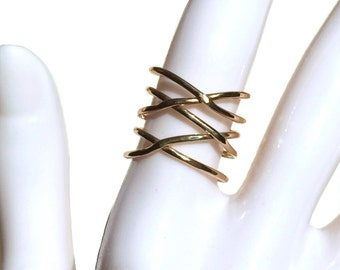 14K Gold Filled Twisted Ring, Thin Hammered Stacking Ring
