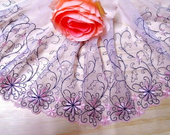 """DN640-6"""" Pink  Embroidered  Tulle Mesh Lace/Bridal/Lolita/  Trim by Yard"""