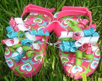 Toddler Girl Heart Print Korker Bow Flip Flops in Hot Pink, Turquoise, Lime Green and White