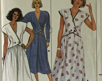 """Dress, Asymmetrical Closing by Kathryn Conover- 1980's -  Butterick Pattern 3854  Uncut  Sizes  6-8-10  Bust 30.5-31.5-32.5"""""""