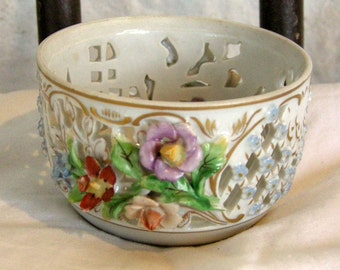 Dresden Porcelain Applied Floral Reticulated Bowl