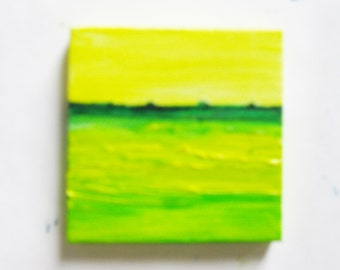 Miniature Abstract Landscape Painting Original Oil Painting with Easel 3 x 3 Gallery Wrap Canvas Green Meadow Kathleen Daughan Art AL4