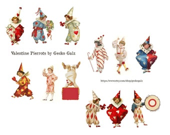 Valentine Pierrots Digital Collage Set