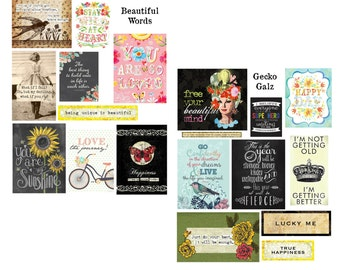 Beautiful Words Digital Collage Set