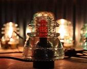 Steampunk Vintage Industrial Railroad Telegraph Insulator Lamp Hemingray 42 Bedside Light Rustic Minimalist Lamp