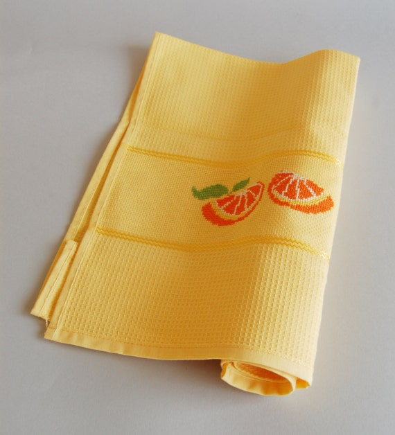 Ready to ship, yellow ,dishtowels,cotton, honeycomb, handamade,cross stitch,oranges,kitchen,home,house, gift, decoration, made in Italy