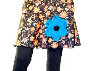 Retro flower skirt, orange black goa skirt