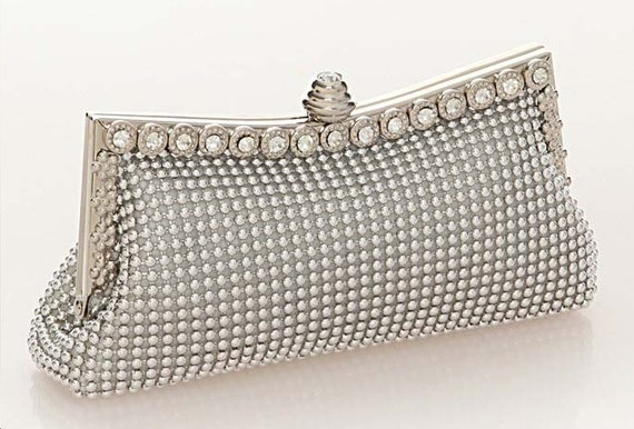 Neiman Marcus Wedding Gifts: Clutch Vintage Purse Couture Silver Austrian Rhinestone Party